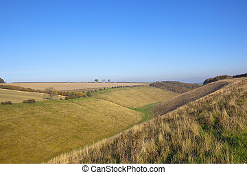 yorkshire wolds valley - a scenic agricultural valley with...