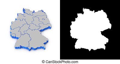 Germany 3D map with shadow Alpha channel Perspective CG