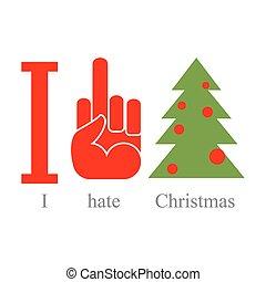 je, Haine, Noël., Symbole, de, haine, fuck, et, arbre.,...