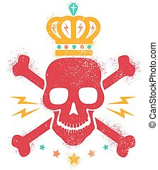 Vintage logo with red skull and golden crown