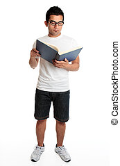 Man reading a hardcover book
