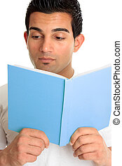Closeup of a man reading a book - Closeup of a man reading a...