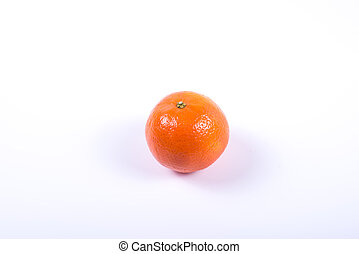 close up of one tangerine isolated  on white background