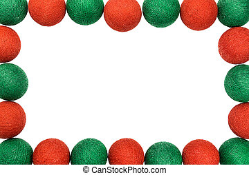 frame red and green christmas ball isolated on white background