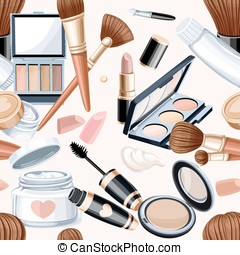 Seamless pattern from cosmetics objects