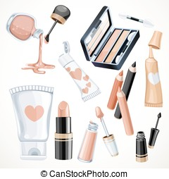Set of cosmetics objects in beige color