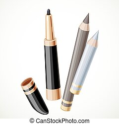 Set of cosmetics  pencil contour isolated on a white background