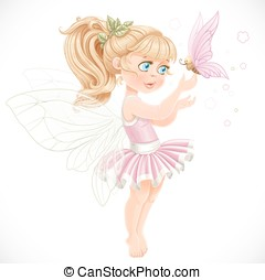 Sweet fairy in a pink tutu holding a large butterfly on the...