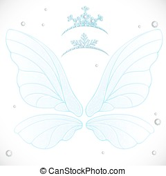 Fairy white wings with tiaras bundled isolated on a white...