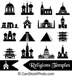 world religions types of temples icons eps10