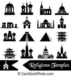 värld, Religioner, slagen, av, tempel, ikonen, eps10,