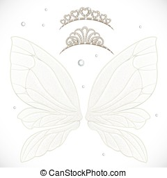 Fairy wings with tiara bundled isolated on a white...