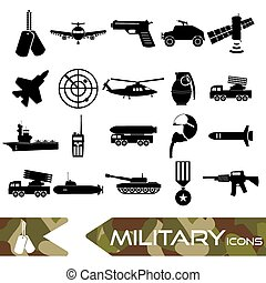 military theme simple black icons set eps10
