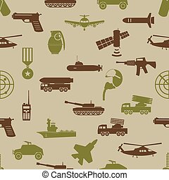military colors icons theme seamless pattern eps10