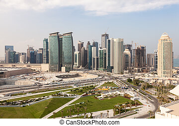 Doha Diplomatic Area, Qatar - View over the Doha downtown...
