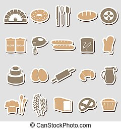 simple bakery items color stickers set eps10