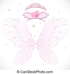 Fairy wings with gold tiaras bundled isolated on a white...