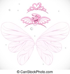 Fairy wings with gold tiaras bundled isolated on a white background