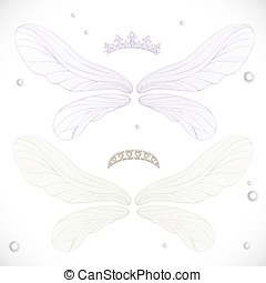 White and violet fairy wings with tiara bundled isolated on a white background