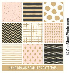 Hand Drawn Seamless Patterns Collec - A set of nine hand...