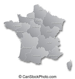 New French territorial reform - Illustration of the new map...