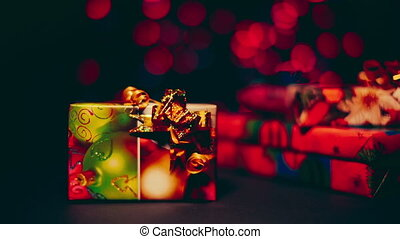 Beautiful colorful christmas gifts close up - Beautiful...