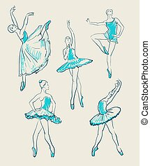vector sketch of girls ballerinas set - vector sketch of...