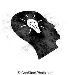 Finance concept: Head With Light Bulb on Digital background