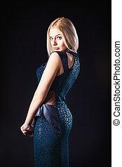 pretty fashionable girl - studio portrait of pretty...