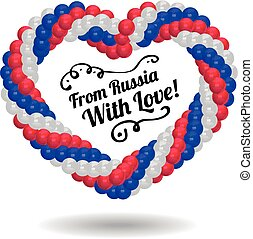 Heart made of balloons in the colors of Russian flag.