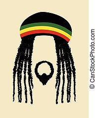 Rastafarian - Face symbol of a man with dreadlocks hairstyle...