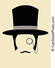 Rich Man - Gentleman wearing vintage hat with a monocle and...