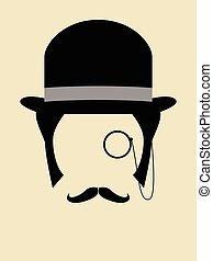 Rich Man - Gentleman wearing bowler hat with a monocle and...