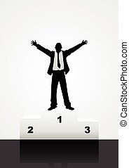 Winner - Silhouette illustration of a male on rank stages