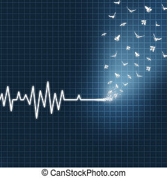 Afterlife Concept - Afterlife concept as an ecg or ekg...