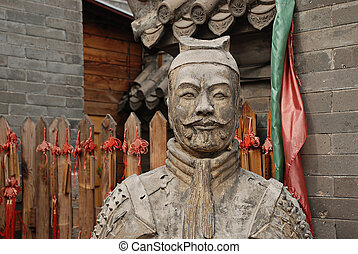 Chinese statue warior at china wall