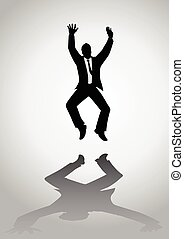 Excited Businessman - Silhouette of a man figure jumping