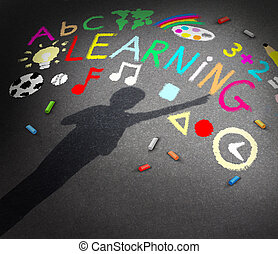 Child Learning - Child learning concept as the shadow of a...