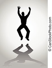 Excited Man Jump - Silhouette of a man figure jumping