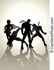 Superheroes Team Up - Silhouette illustration of superheroes...
