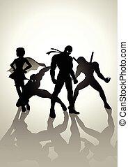 Superheroes Team Up - Silhouette illustration of superheroes...