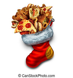 Unhealthy Holiday Eating - Unhealthy holiday eating symbol...