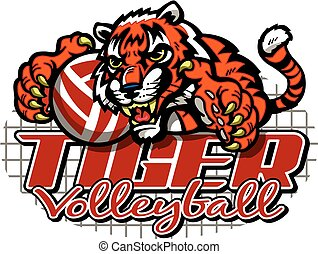 tiger volleyball team design with mascot for school, college...