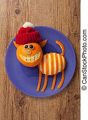 feliz, navidad, gato, en, sombrero, en, de madera, Plano de...