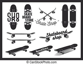 Vector set of skateboard emblems, labels, badges and design...