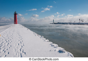 Lake Michigan Harbor Below Zero - Photograph of the Kenosha,...