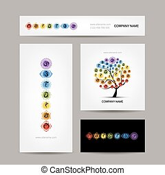 Business cards design, seven main chakras Vector...