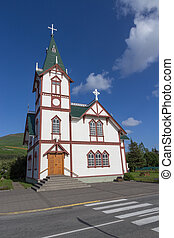 Husavik church - Wide angle shot of the Husavik church at...