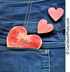 Jeans background with wooden heart Valentine and 39;s day -...