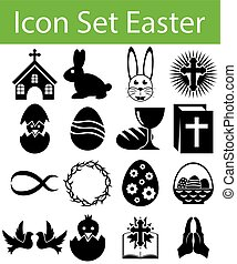 Icon Set Easter with 16 icons for the creative use in...
